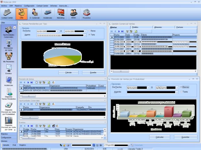 Interfaz de la aplicación CRM