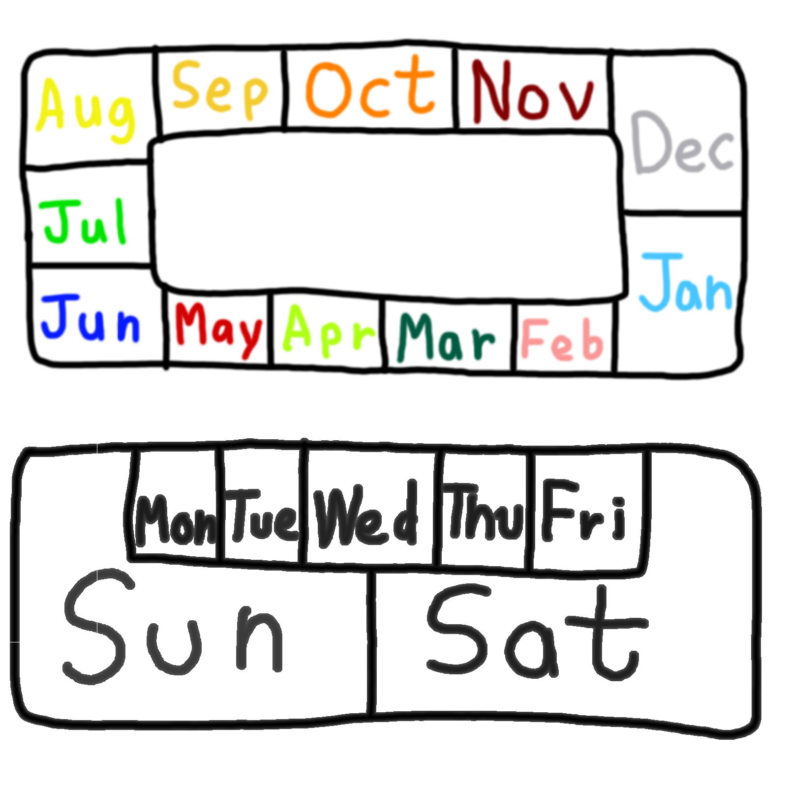 Year Calendar Days : File months of the year and days week