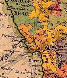 Geografisk placering af Hertugdømmet Nassau