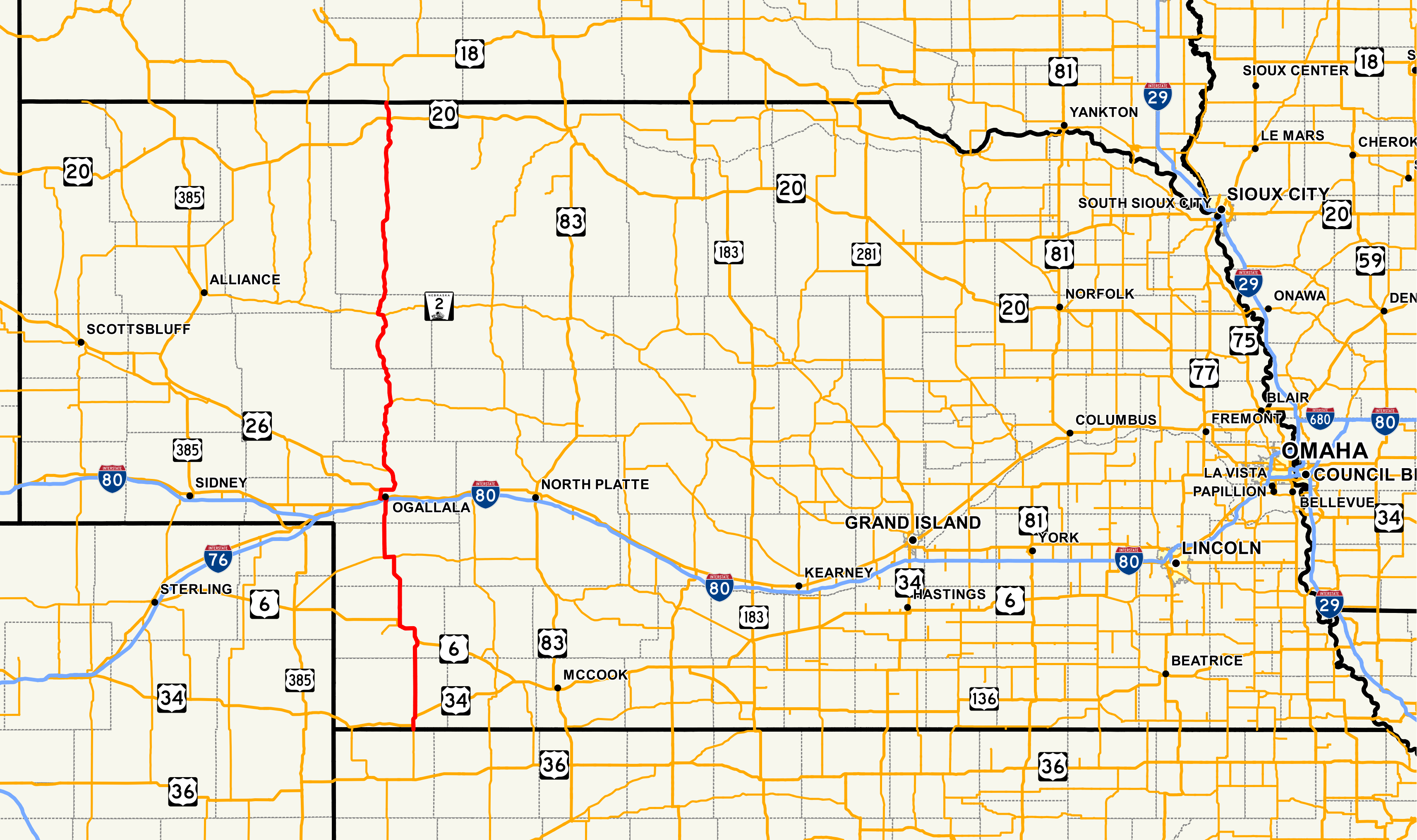 Nebraska Highway Wikipedia - Map of nebraska towns