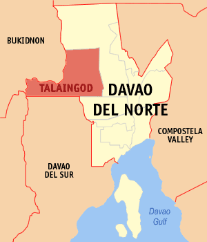 Map of Davao del Norte showing the location of Talaingod