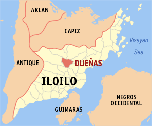 Map of Iloilo showing the location of Dueñas