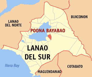 Map of Lanao del Sur showing the location of Poona Bayabao