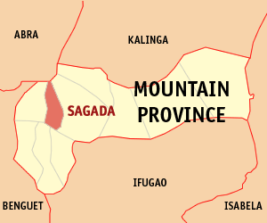 Map of Mountain Province showing the location of Sagada