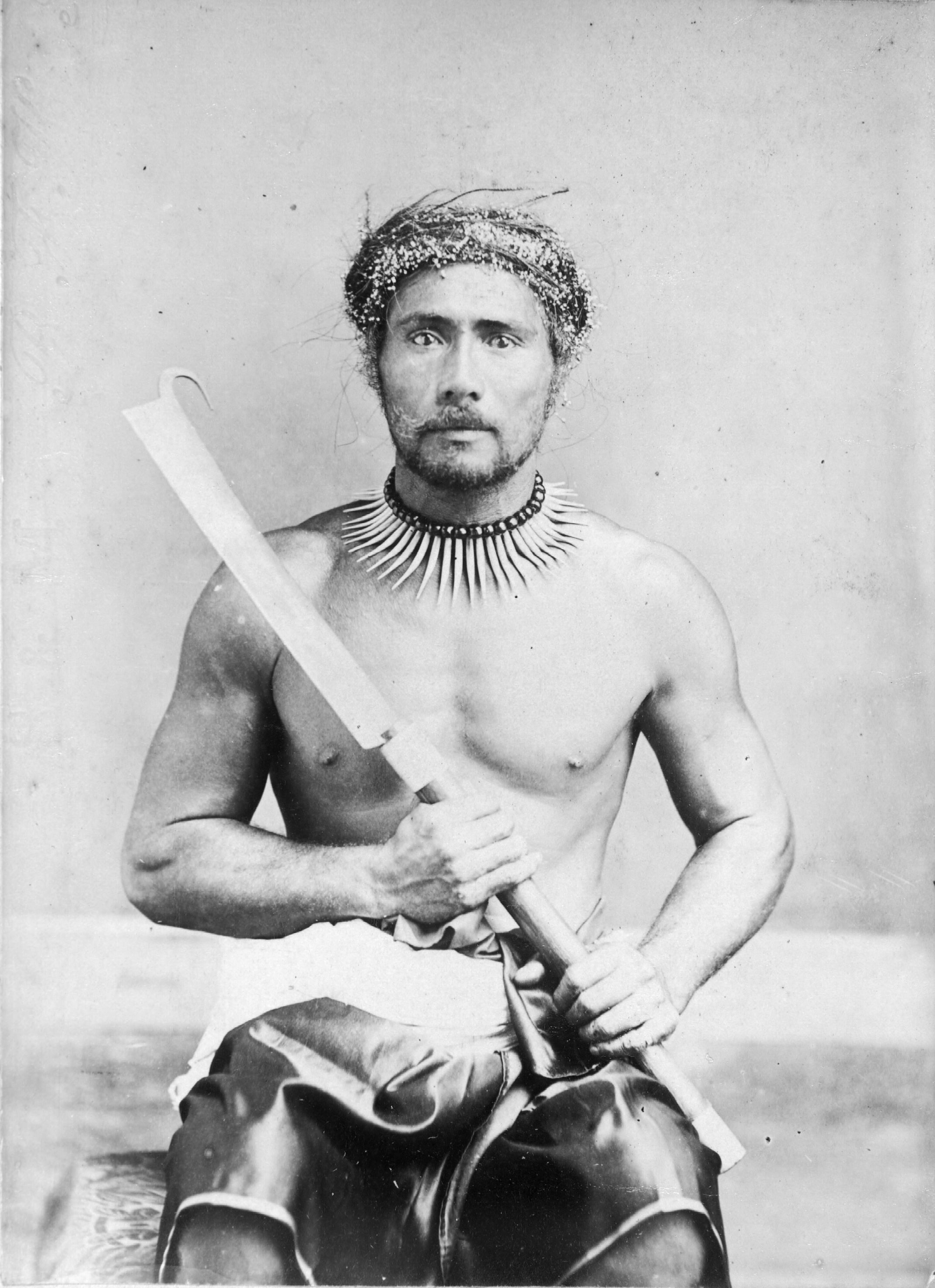 File:Photograph_of_the_first_chief_killed_during_the_Samoan_war,_ca._1880s on Samoan Men