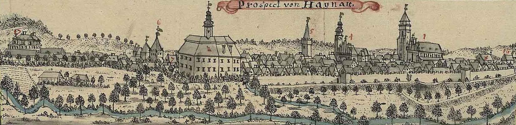 Panorama Chojnowa autorstwa Friedricha Bernharda Wernhera z Topographia oder Prodromus Delineati Principatus Lignicensis Bregensis, et Wolaviensis [...] (XVIII wiek)