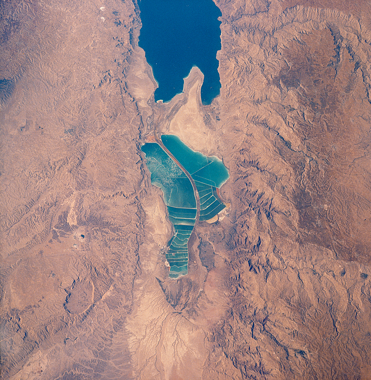 Dead Sea, taken in August 1989 by U.S. Space Shuttle mission STS-28.
