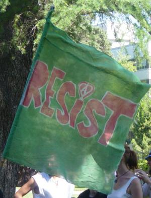 Sacramento 2003 GMO USDA protest'Resist' flag