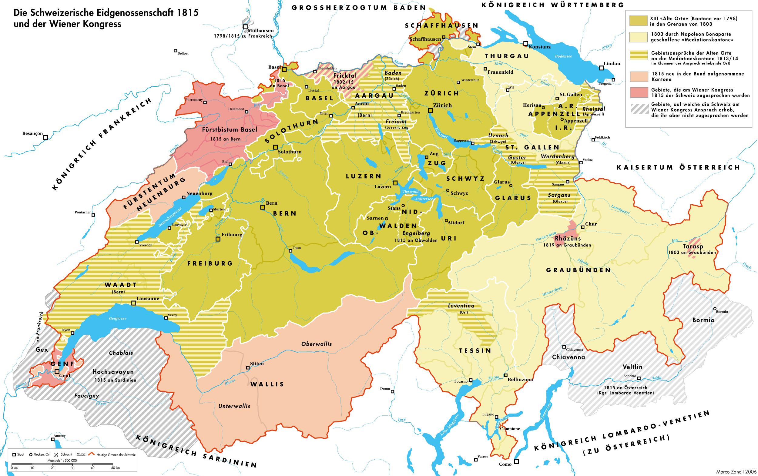 Schweiz Italien Karte