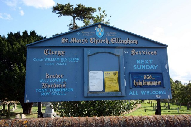 St Mary, Ellingham, Norfolk - Notice board - geograph.org.uk - 1500728