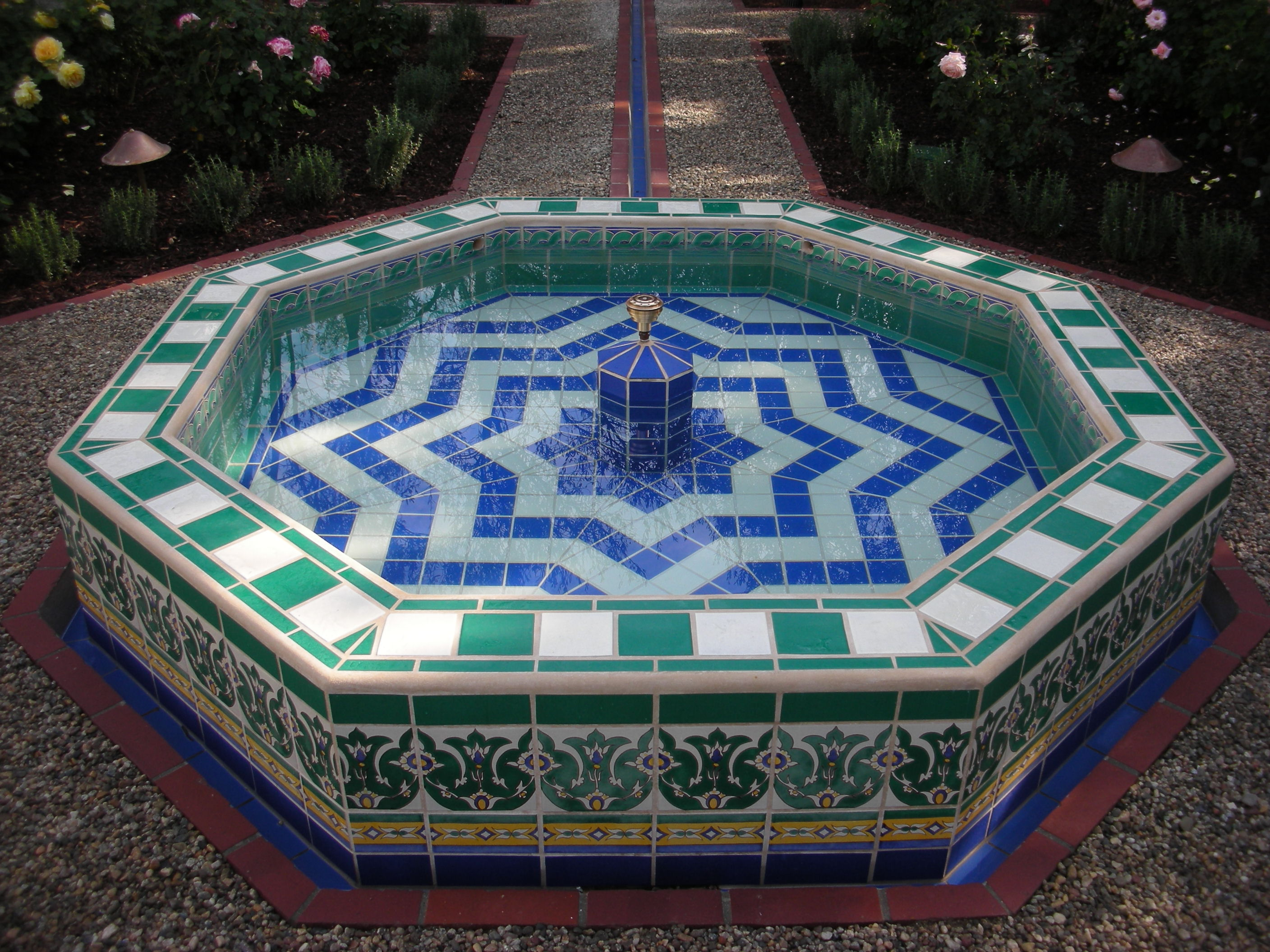 FileStar fountain in a garden that appears in the digital catalog