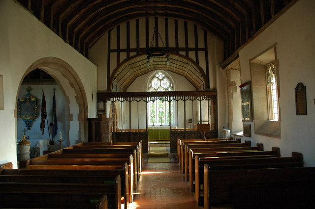 The interior of Alfrick Church
