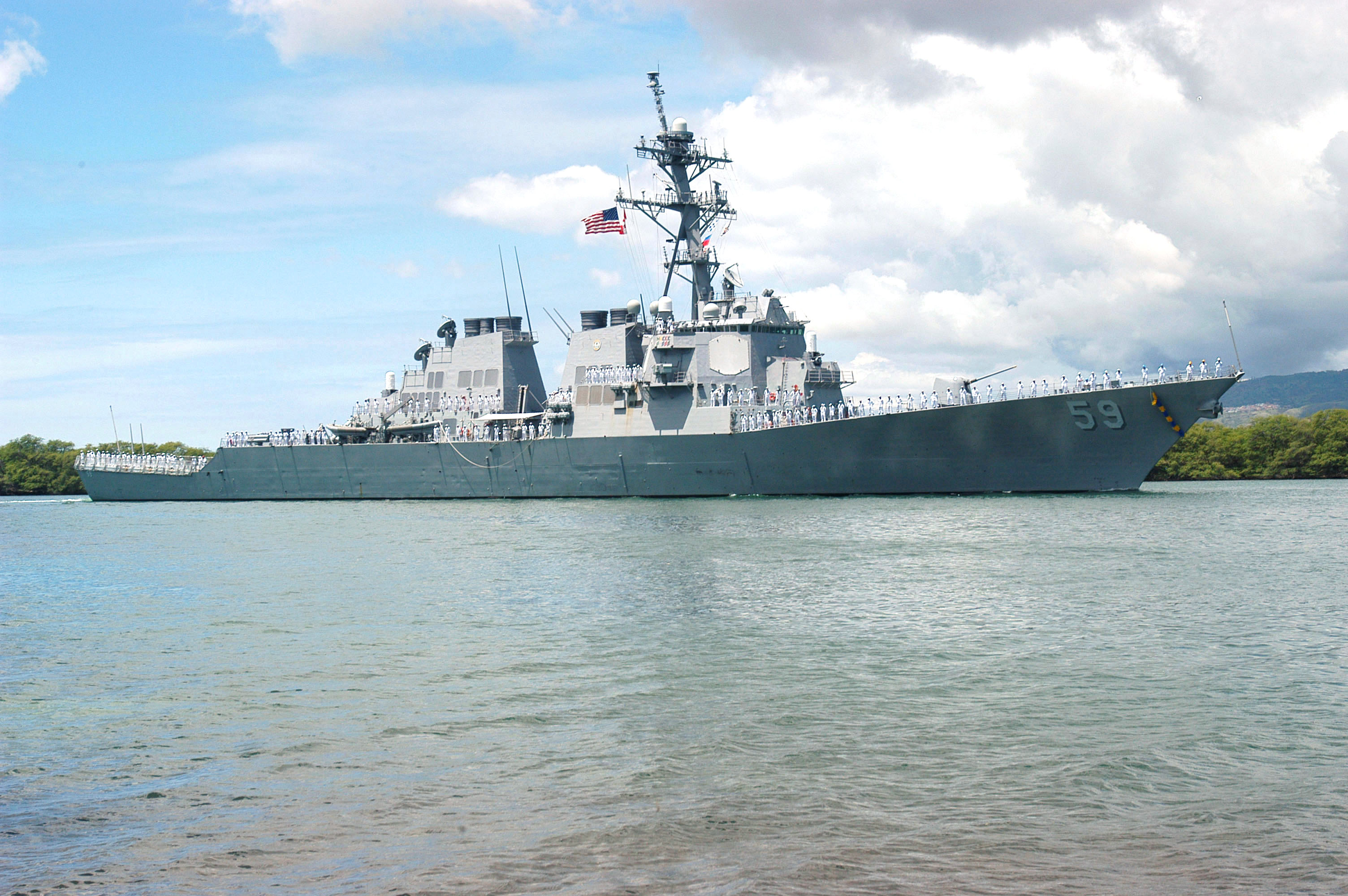 USS Russell off the coast of Hawaii.