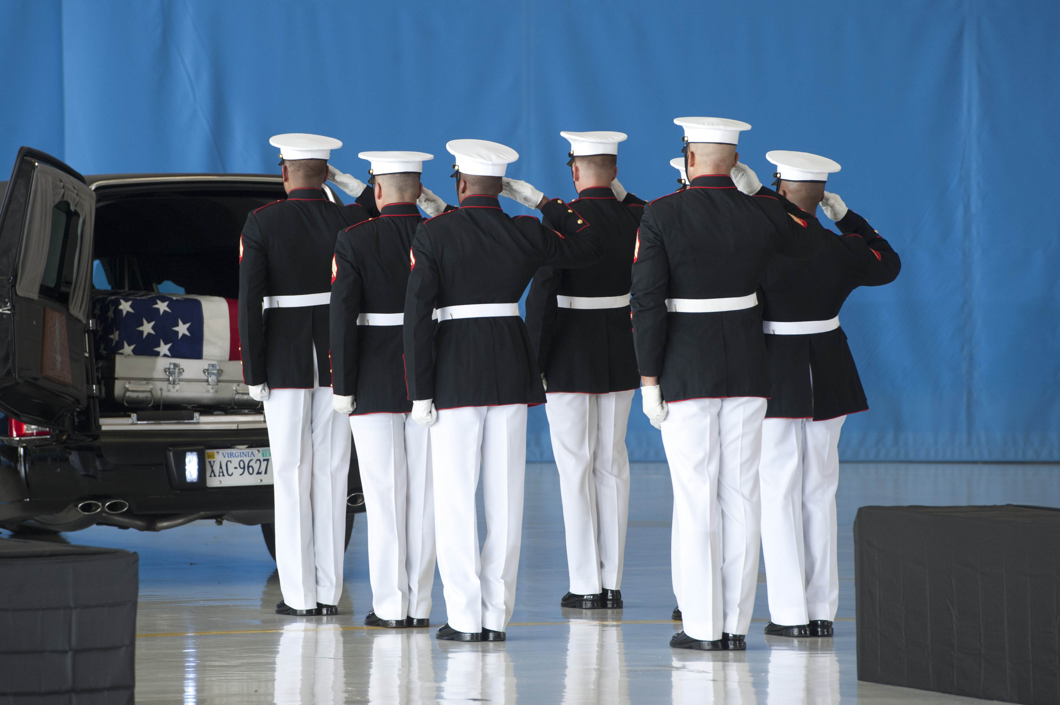 File:United States Marines salute during the dignified