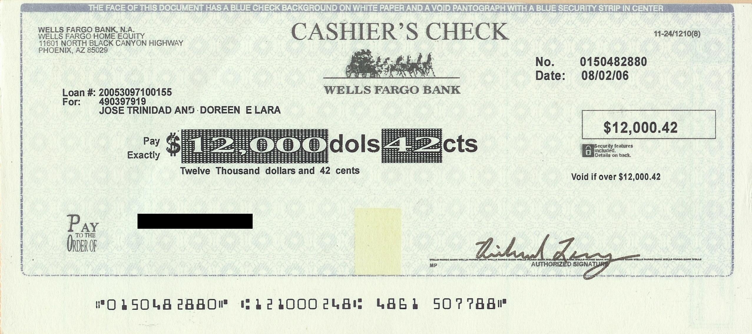 us bank free cashiers check