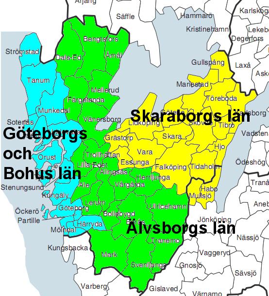 västra götaland karta