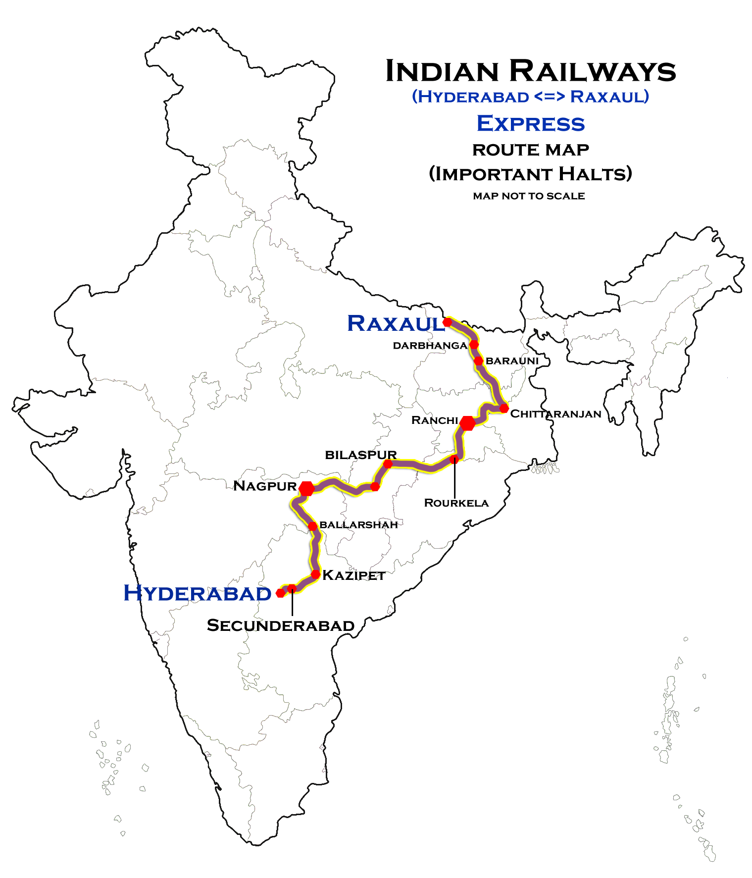 Hyderabad On India Map.File Hyderabad Raxaul Express Route Map Png Wikimedia Commons