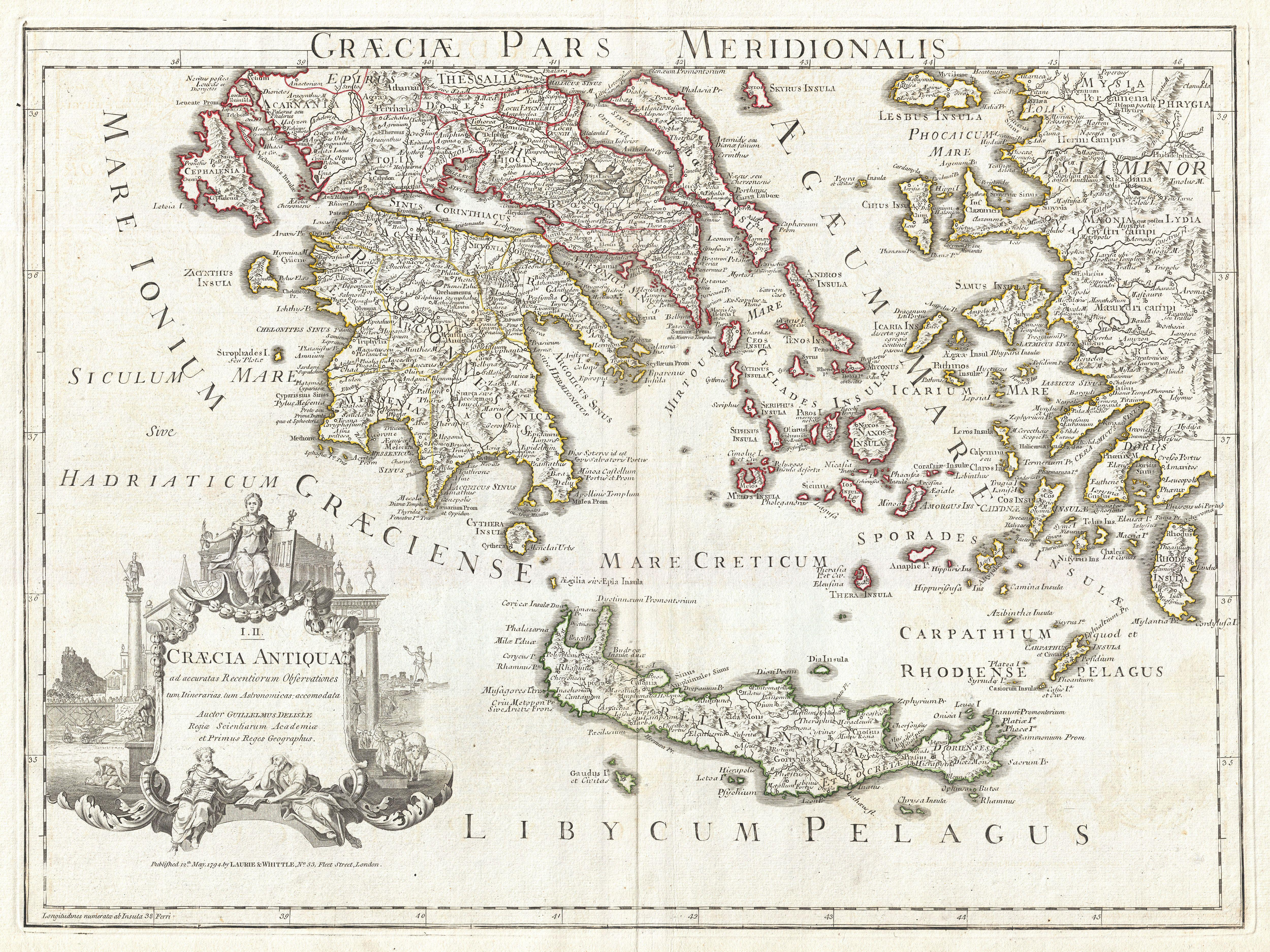File 1794 Delisle Map Of Southern Ancient Greece Greeks Isles Antique Greece To Color