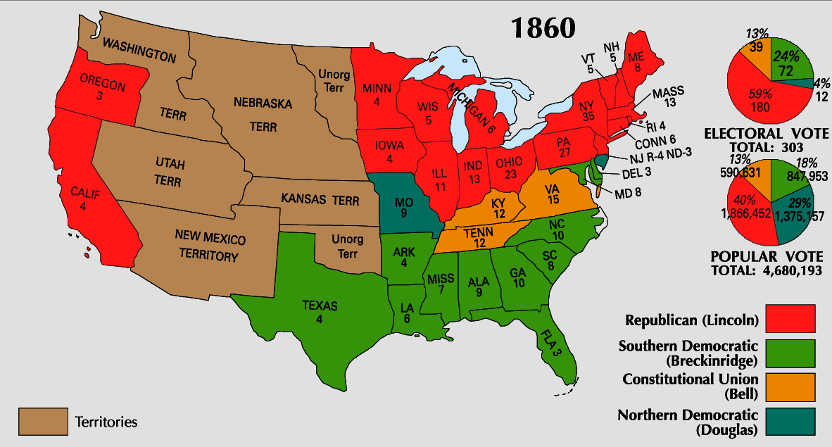 File:1860 Electoral Map.png - Wikipedia on map of america in 1860, united states flag in 1860, blank united states in 1860, number of american states in 1860, south america map in 1860, union states in 1860, united states postal service in 1860, map of usa in 1860, northern states in the us in 1860, united states of america in 1860, us map in 1860, india map in 1860, map of europe in 1860, texas map in 1860, map of western states in 1860, states and capitals in 1860,