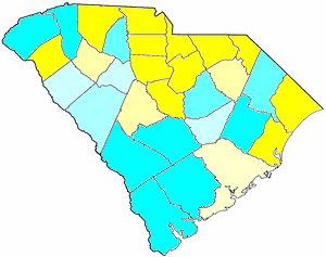 1865 South Carolina gubernatorial election map, by percentile by county.   65+% won by Orr   55%-59% won by Orr   50%-54% won by Orr   50%-54% won by Hampton   55%-59% won by Hampton   60%-64% won by Hampton   65+% won by Hampton