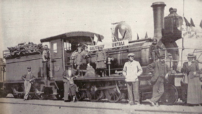 The opening of the railway to Umtali in 1899. 1899railroad salisbury.jpg