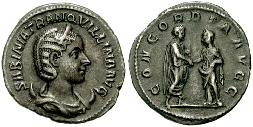 "Roman imperial coin, struck c. 241, with the head of Tranquillina on the obverse, or front of the coin, and her marriage to Gordian III depicted on the reverse, or back side of the coin, in smaller scale; the coin exhibits the obverse - ""head"", or front - and reverse - ""tail"", or back - convention that still dominates much coinage today. Antoninianus-Tranquillina-Gordian III-s2539.jpg"