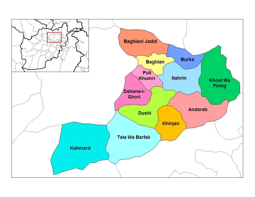Districts of Afghanistan - Wikipedia, the free encyclopedia Baghlan map