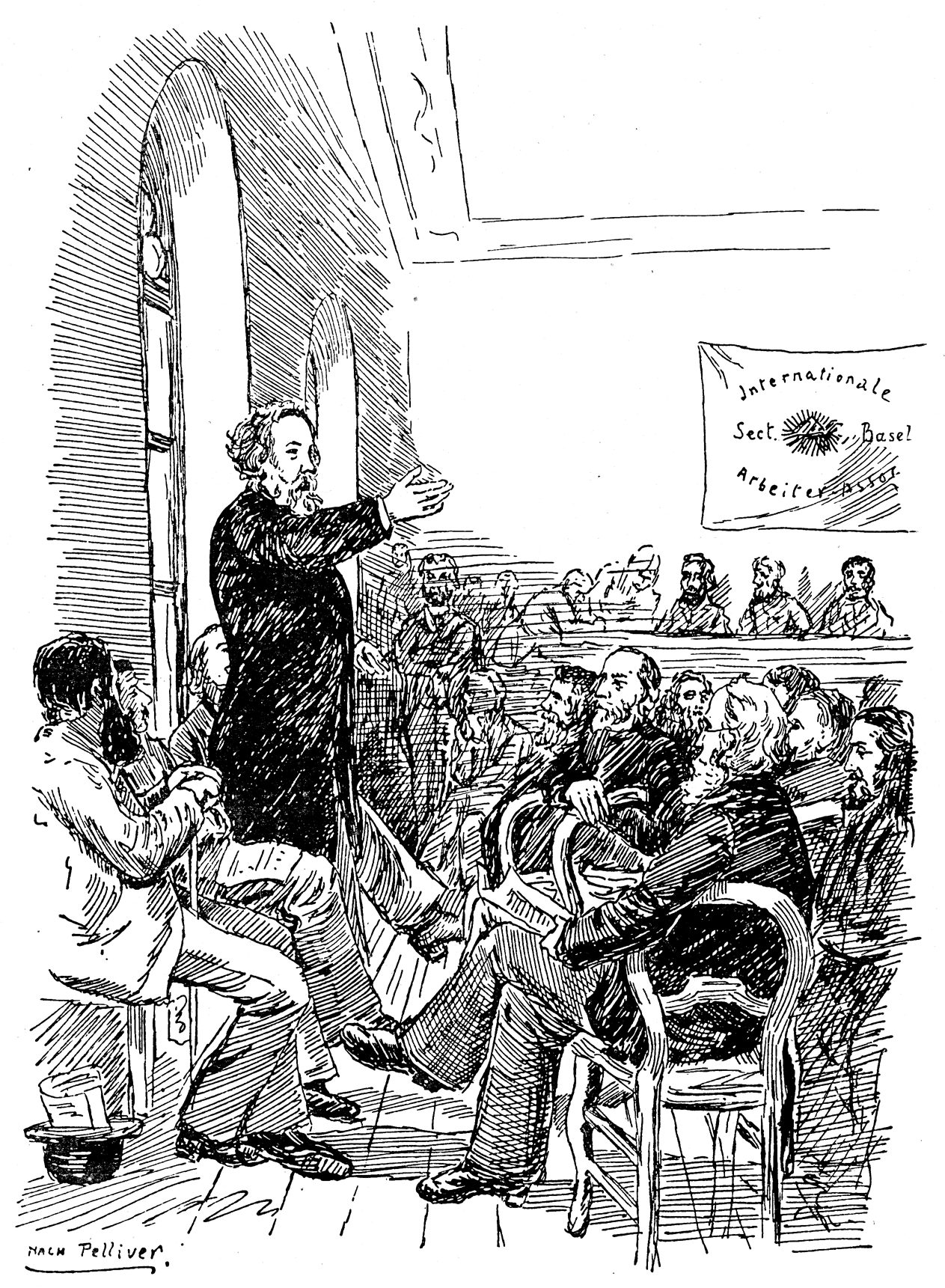 Mikhail Bakunin speaking to members of the IWA at the Basel Congress in 1869