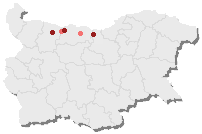 Location of the main Banat Bulgarian villages in Bulgaria