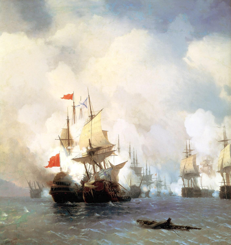 Η μάχη του Τσεσμέ, έργο του Ιβάν Αϊβαζόφσκι