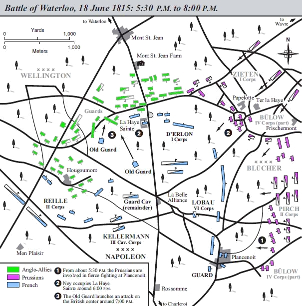 Situation from 17:30 to 20:00 Battle of Waterloo map.jpg