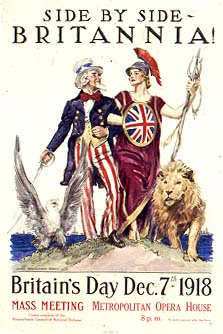 A poster from World War I showing Britannia arm-in-arm with Uncle Sam, symbolizing the Anglo–American alliance