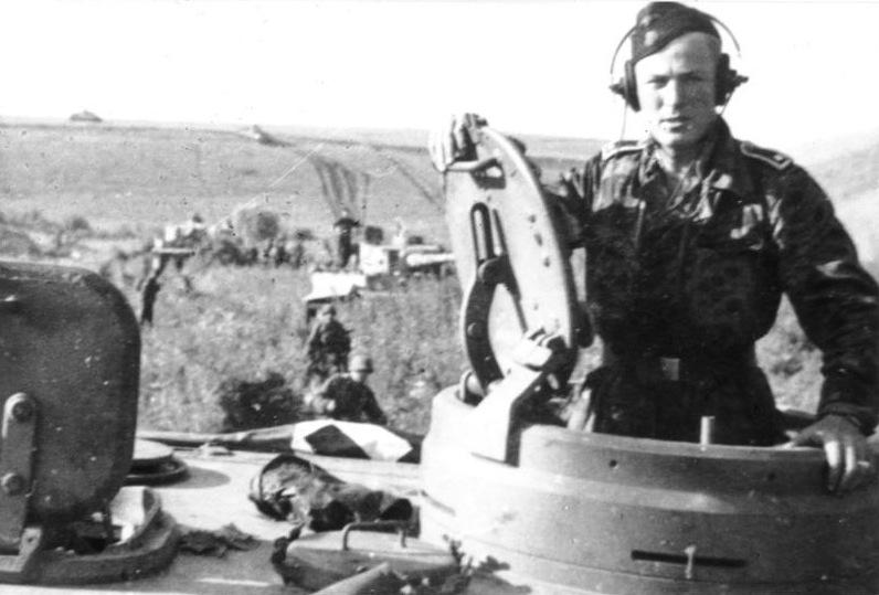 "Close up of a ""Das Reich"" Tiger commander"