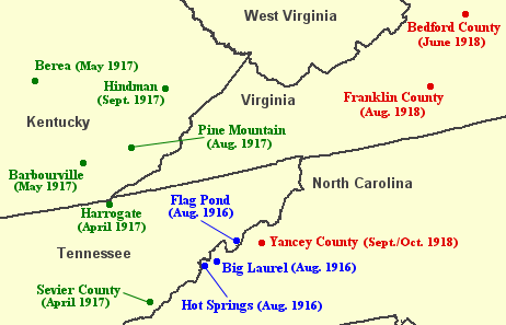 "Locations in Southern and Central Appalachia visited by the British folklorist Cecil Sharp in 1916 (blue), 1917 (green), and 1918 (red). Sharp sought ""old world"" English and Scottish ballads passed down to the region's inhabitants from their British ancestors. He collected hundreds of such ballads, the most productive areas being the Blue Ridge Mountains of North Carolina and the Cumberland Mountains of Kentucky. Cecil-sharp-appalachia-map.png"