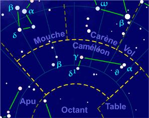 Carte pour la constellation Caméléon Produite à l'aide du logiciel PP3 - Grume / Orthogaffe / Korrigan - Wikimedia Commons