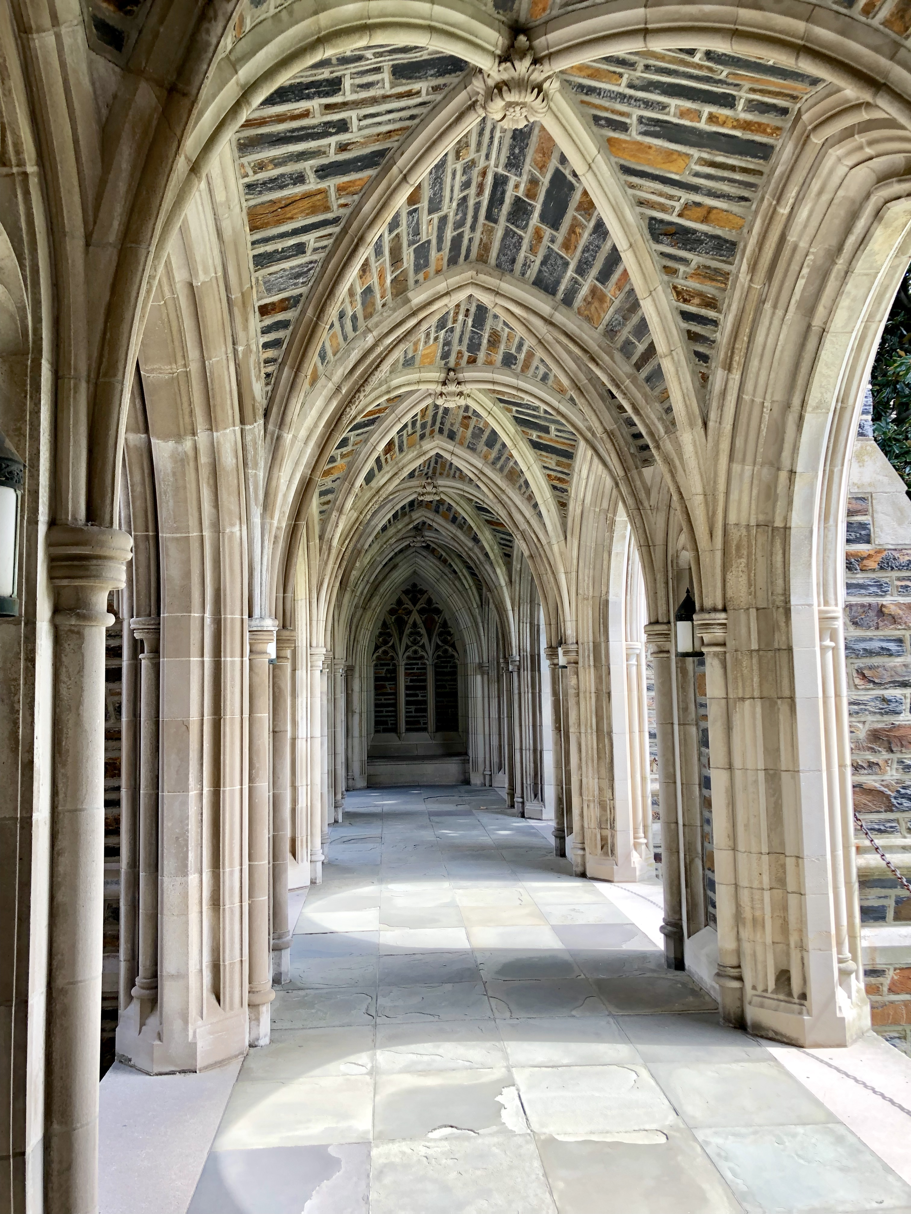 A cloister at the Duke Chapel, West Campus, Duke University, Durham, North Carolina, USA.