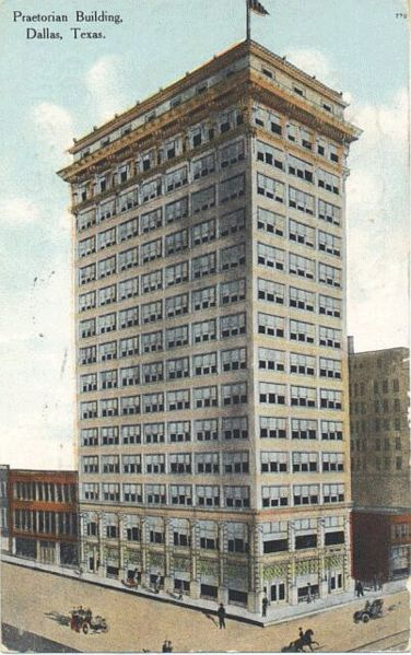The Praetorian Building in Dallas, completed 1909, was the first skyscraper west of the Mississippi and the tallest in Texas. Dallas-Praetorian.jpg