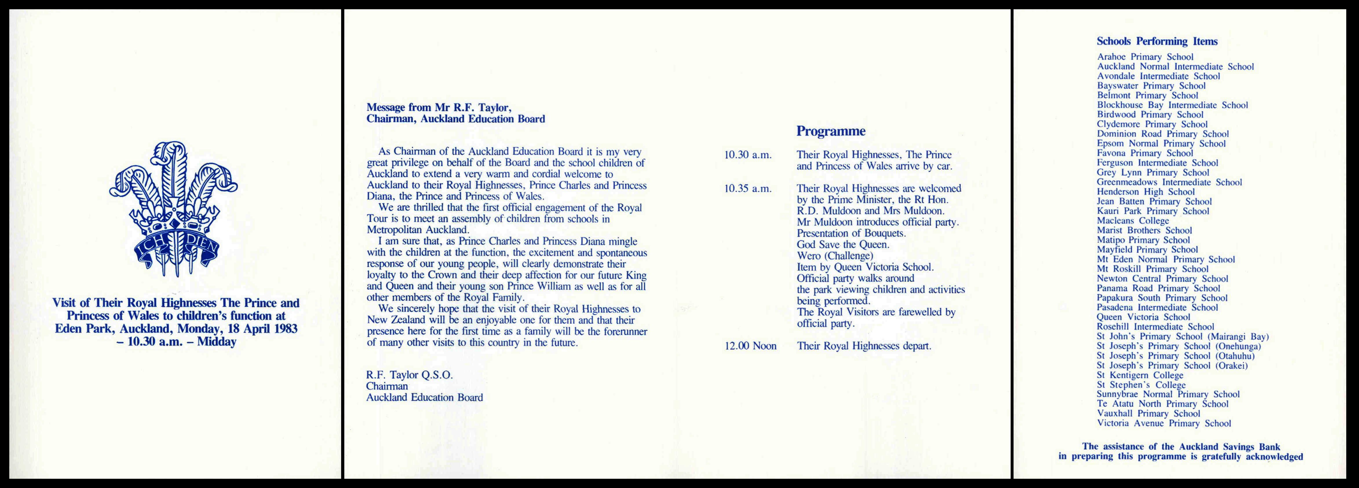 file event programme for 1983 tour by hrh prince charles and