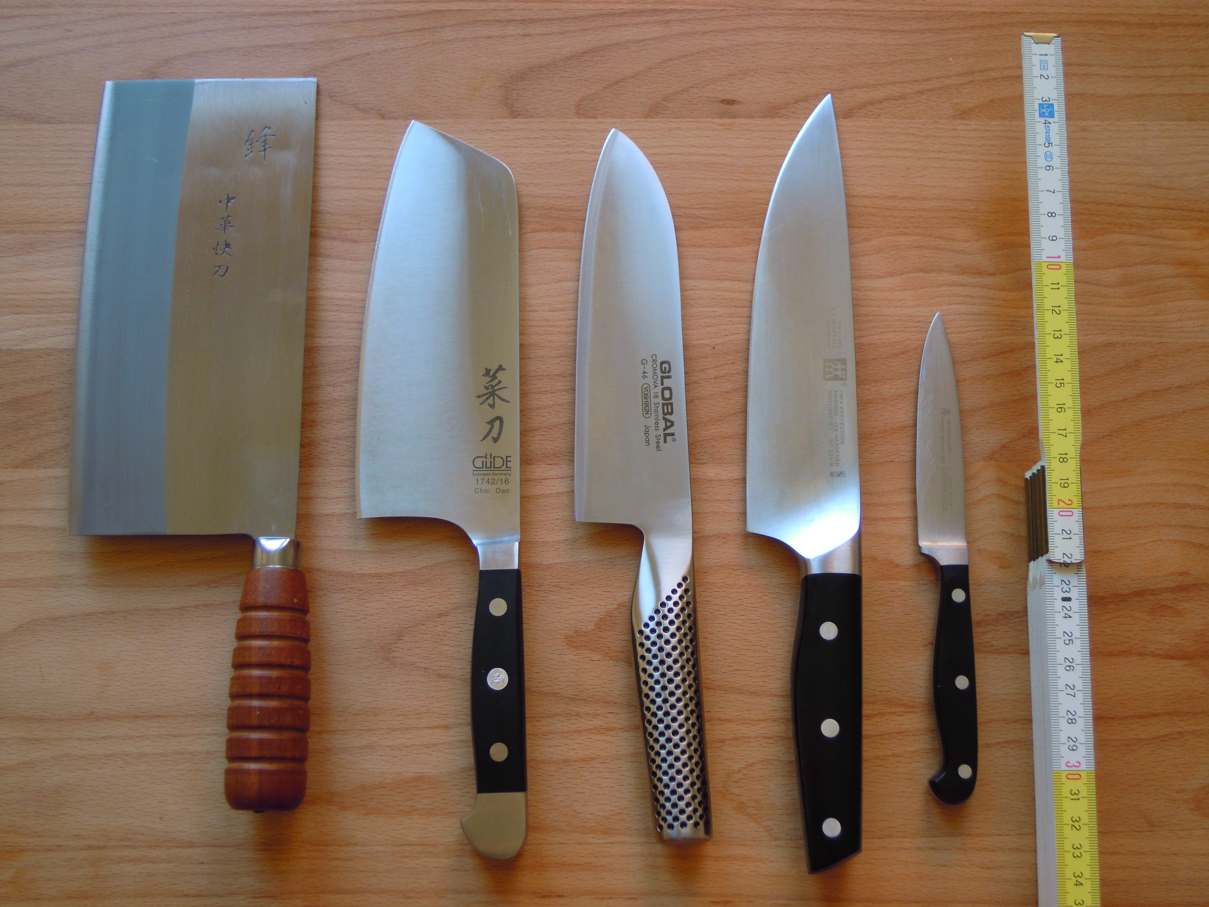 file four chef s knives and an paring knife jpg