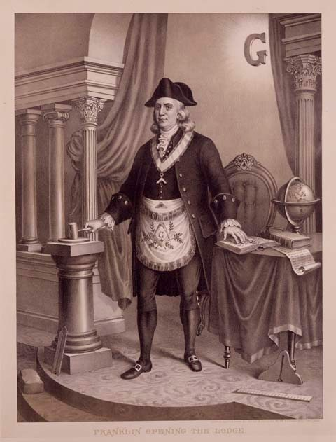 LES SIGNATAIRES MACONS DE LA DECLARATION D'INDEPENDANCE Franklin_at_freemasonry_uniform