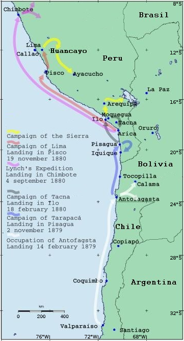 Almost all Chilean military operations began with a landing. The exceptions were the operations in the Sierra. Gdp.ops.en.400.png