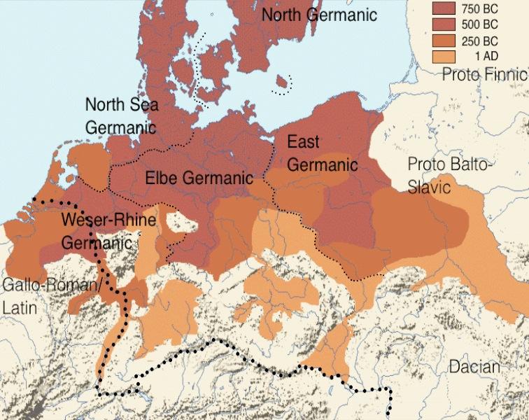 Distribución de los pueblos germánicos o protogermánicos