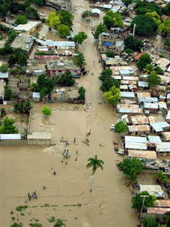 Image of the flood waters in Gonaïves, Haiti a...