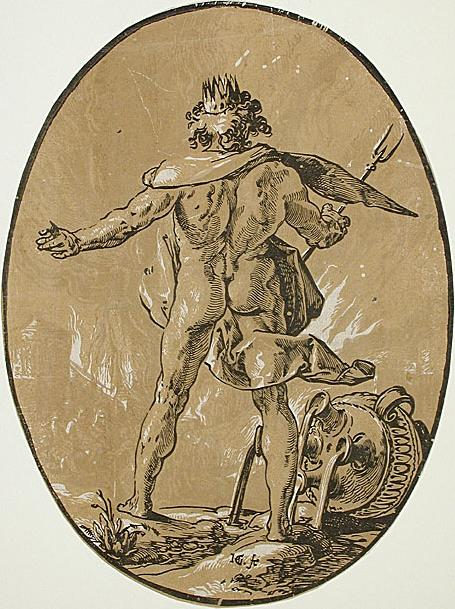 Pluto holding a bident in a woodcut from the Gods and Goddesses series of Hendrick Goltzius (1588-89)