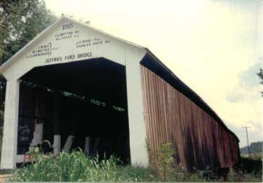 Jeffries Ford Covered Bridge, destroyed by fire in 2002 but still NRHP-listed, in Parke County Jeffriesfordbridge.jpg