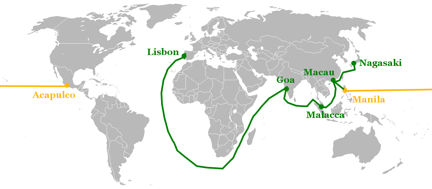 Portuguese eastern trade routes from Lisbon to Nagasaki (green), and Spanish Manila galleon route (gold))(16th 17th centuries)