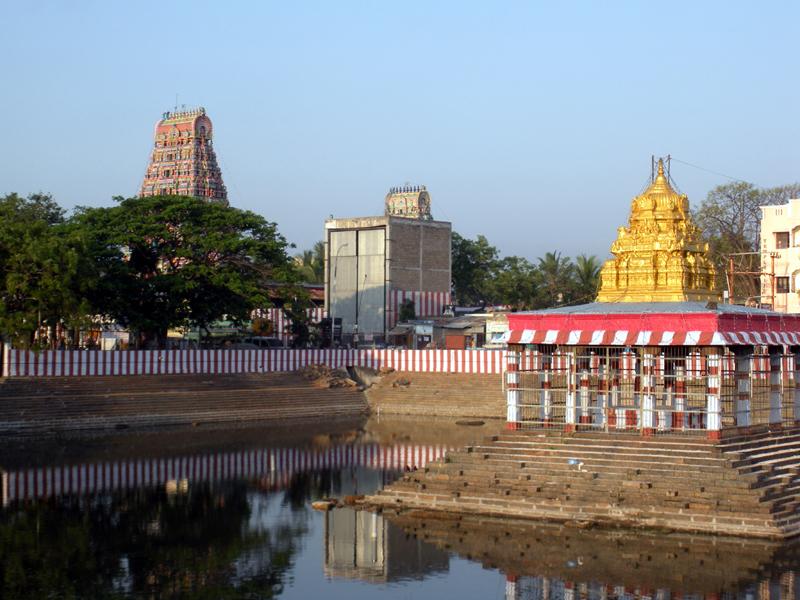 Marundeeswarar Temple and Tank glow in the morning