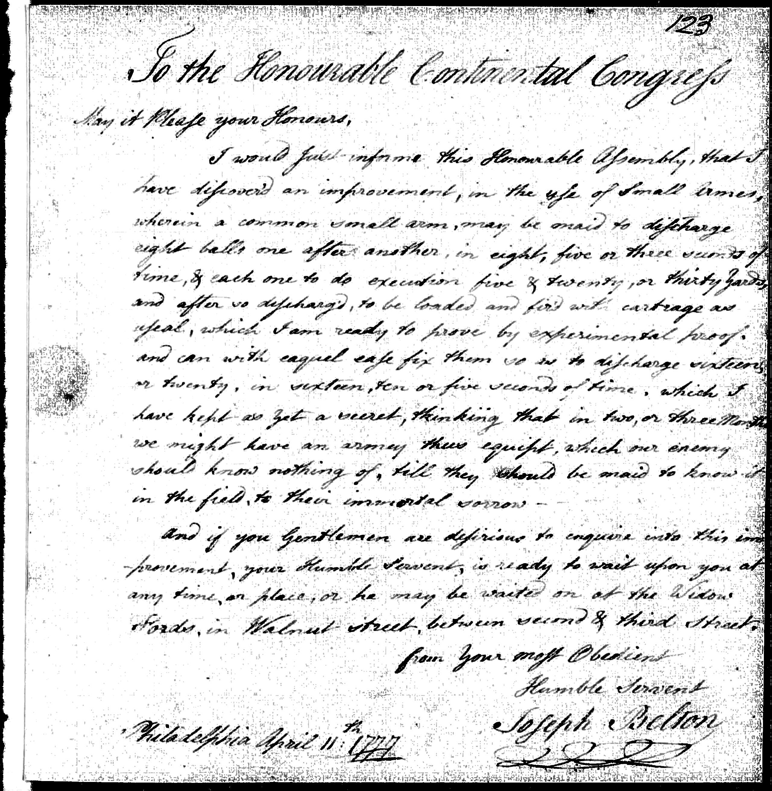Letter to the Continental Congress from Joseph Belton