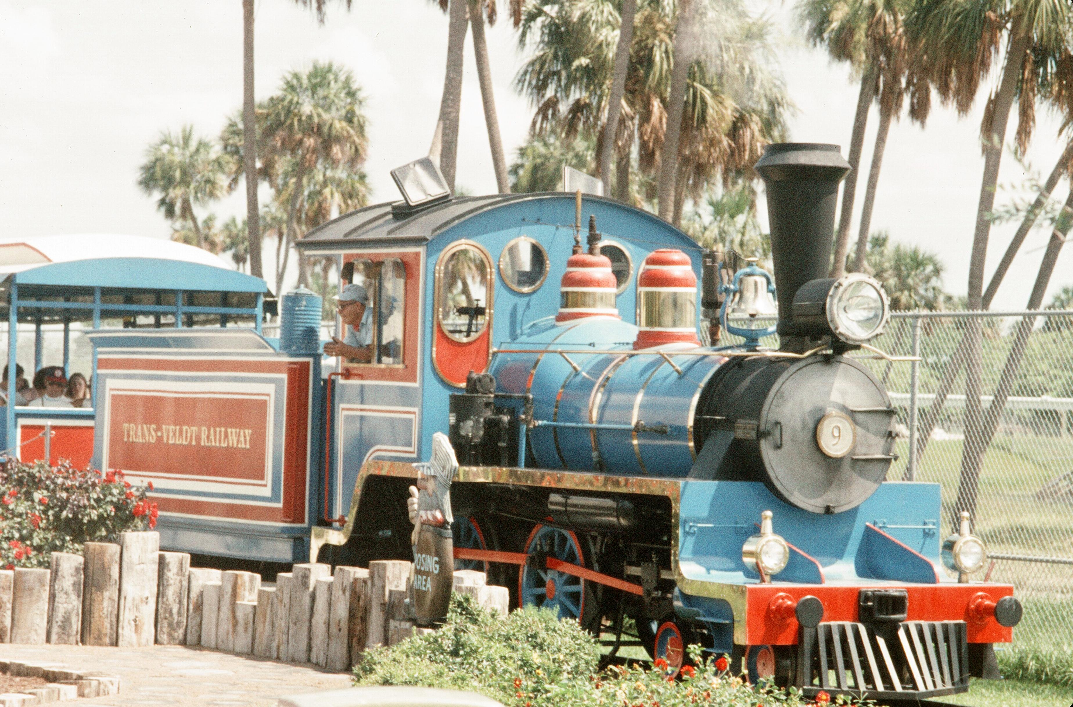 Miniature train at Busch Gardens%2C Tampa%2C Florida%2C 1972 %281 of 2%29 - Transportation From Seaworld To Busch Gardens