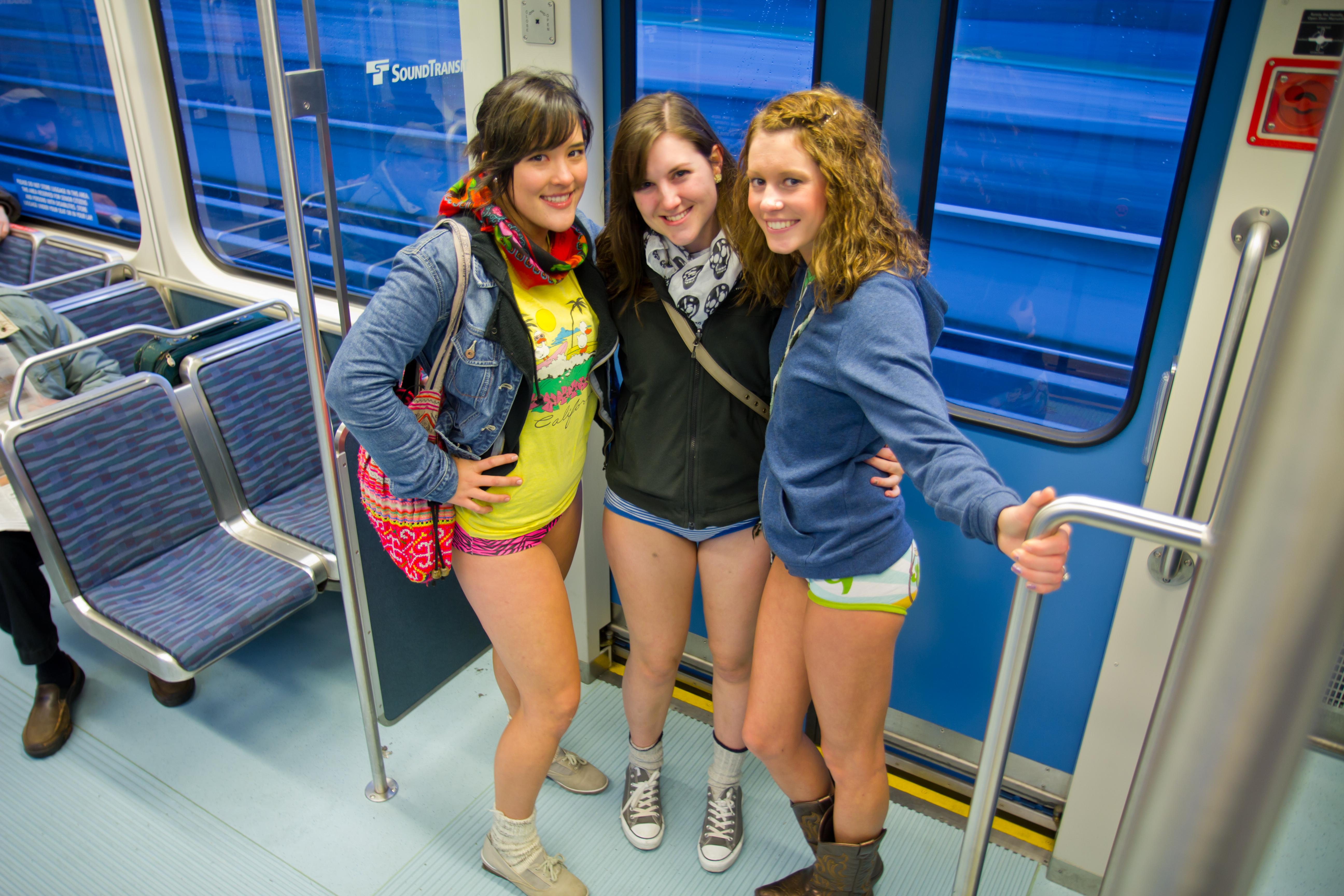 Girl flashing at subway #12